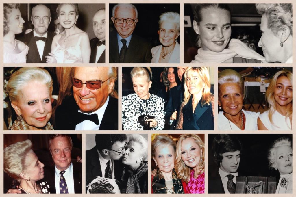 """Partendo dall'alto: mia zia carla con Maria Callas, con Enzo Biagi, con Margot Hamingway, con il grande Giorgio Albertazzi, con la """"dogaressa"""" (come la chiamava lei) Mara Venier, con il maestro Zeffirelli, con Marco Rivetti, con Silvana Giacobini e con il mitico Gianni Rivera."""