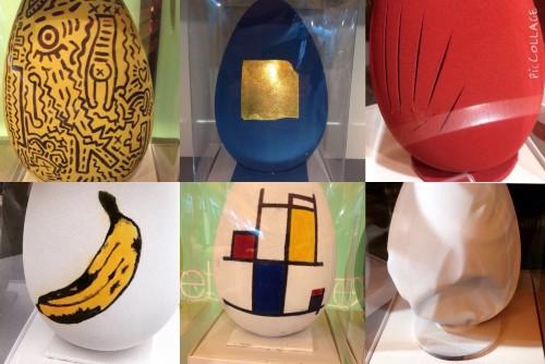 Alcune delle uova della Pasticceria Bompiani in vendita in Rinascente, a Milano